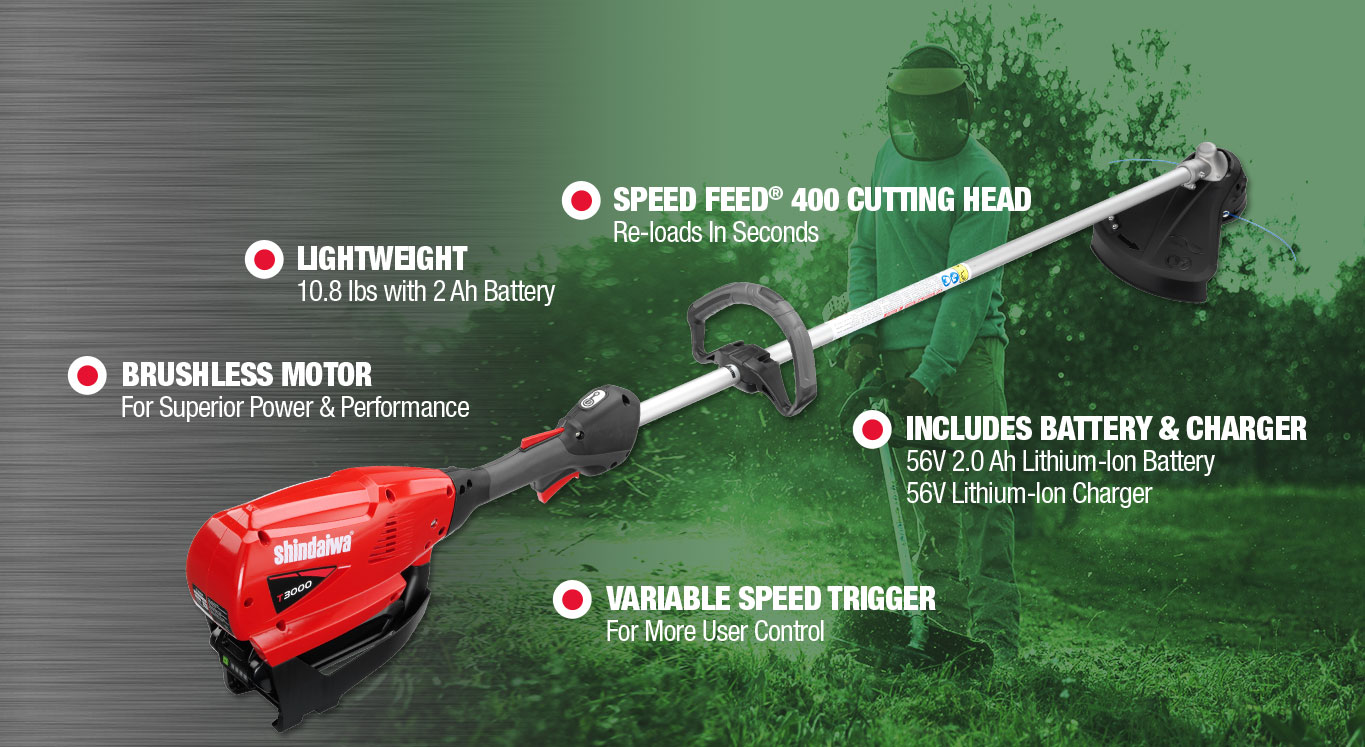 Speed Feed® 400 Cutting Head Re-loads In Seconds | Lightweight 10.8 lbs with 2 Ah Battery | Variable Speed Trigger For More User Control | Brushless Motor For Superior Power & Performance | Includes Battery & Charger 56V 2.0 Ah Lithium-Ion Battery 56V Lithium-Ion Charger